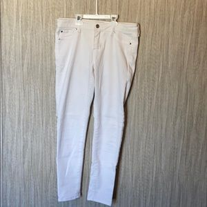 White c pink skinny jeans